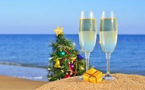 vacanza, Capodanno, mare, oceano, Natale, spiaggia, sabbia, calici, abete, regalo, Giocattoli