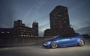 blu, citt, notte, casa, Volkswagen