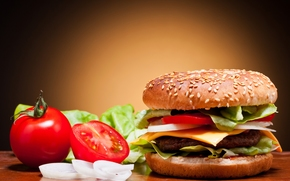 hamburger, roll, sesame, tomatoes, onion, cucumbers, vegetables, cutlet, cheese, fast food