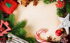 Tree, branch, Christmas decorations, Balls, star, cinnamon, star anise, box, bump, carnation, New Year