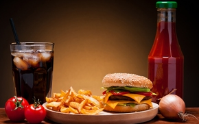 potato, Free, coca-cola, ice, hamburger, roll, sesame, vegetables, tomatoes, onion, cutlet, cheese, ketchup, fast food
