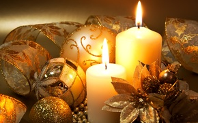 Candles, Candle, Balls, Balls, patterns, Gold, scenery, Tape, Flowers, Jewelry, holiday, New Year, Christmas, New Year