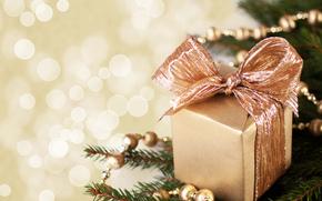 подарок, коробочка, коробка, золотая, бант, ветка, елка, гирлянда, Новый Год, Рождество, праздники