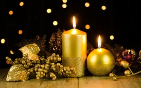 Candles, Gold, Candle, table, scenery, holiday
