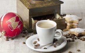 кофе, капучино, чашка, ложка, печенье, зерна, кофемолка, шар, Новый Год