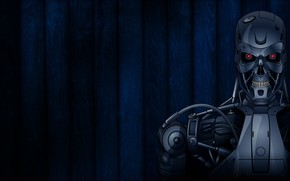 terminador, robot, un fondo azul oscuro, banda, los ojos rojos