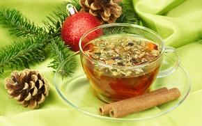 tea, cinnamon, cup, Cones, branch, spruce, ball, New Year, Christmas