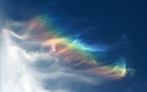 небо, облака, радуга, спектр, цвета