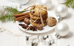 Nuts, Tree, branch, cookies, cinnamon, star anise, Christmas decorations, Balls