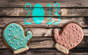 table, cookies, glaze, mittens, New Year