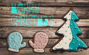 table, cookies, glaze, mittens, Tree, New Year