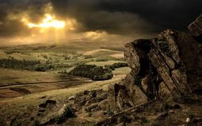 сопки, деревья, камни, облака, солнце