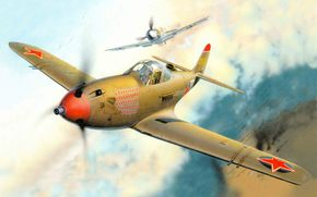 Flugzeug, Kmpfer, Luftwaffe, USA, UdSSR, war, setzen, in, auf, Lend-Lease, auf, Es, fliegend, so, Aces, als, Alexander Pokryshkin, und Gregory Rechkalov, Luftkampf.