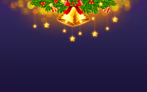 New Year, Christmas, Bells, Star, Toys, Tree, spruce, light, New Year