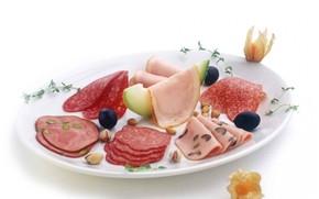 plate, sausage, food
