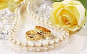 环, 珍珠, 珠子, 玫瑰, 宏