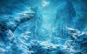 uomo, personale, Montagne, burrone, neve, bufera di neve