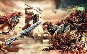 guerriero, armatura, spada, scramble, Mostri, canini, frizioni, catena, saltare
