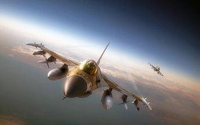combattente, piano, razzo, aviazione, aeronautica militare