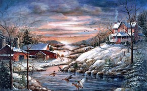 painting, Winter, cold, animals, Birds, Ducks, home, cottage, Trees, snow, ice