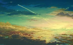 Art, sky, height, clouds, trace