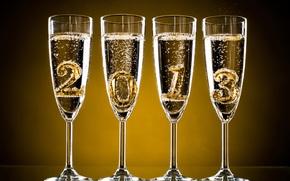 Champagne, vacanza, Capodanno, Natale, dati, calici, Capodanno
