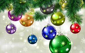 шары, сверкающие, звезды, снежинки, Рождество, красочные, красивые, украшения, зима, праздник, Новый год