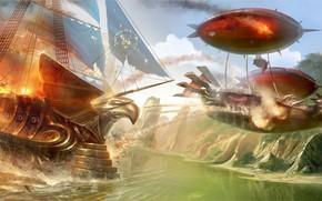 арт, корабль, река, парусник, нападение, огонь