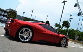 Ferrari, Italy, Lamborghini, Gaillarde, gray, red, building, sky, lights, Ferrari