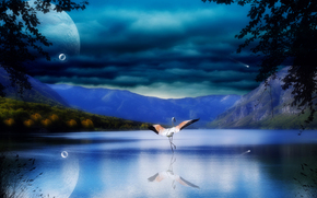 landscape, nature, bird, stork, wings, water, reflection, sea, river, Mountains, rocks, Trees, leaves, Planet, sky, clouds