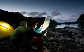 sera, lago, pietre, nuvole, mappa, tenda, persone