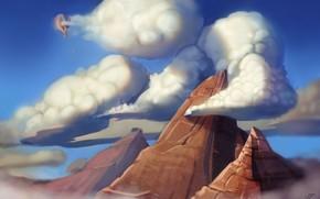арт, горы, пик, облака, высота, воздушный шар