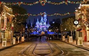 夜, 灯火, 城市, 新年, 圣诞节, 节日, 房子, 圣诞节