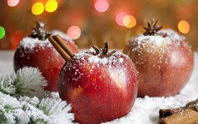apples, cinnamon, star anise, anise, branch, Tree, snow, Holidays, food, Christmas, New Year