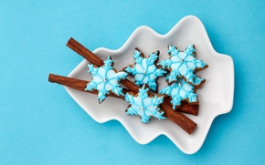 cookies, New Year, Snowflakes, glaze, cinnamon, Sticks, New Year