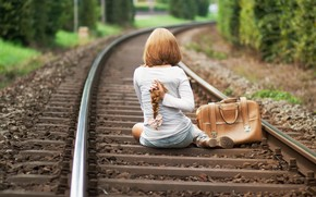 девушка, железная дорога, волосы, настроение