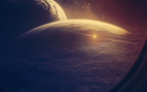spazio, pianeta, nuvole, obl, nave, asteroide