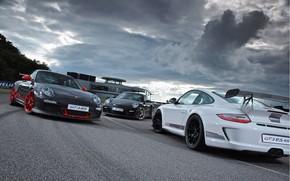Porsche, pc, bianco, grigio, nero, prima, traccia, edificio, nuvole, Porsche