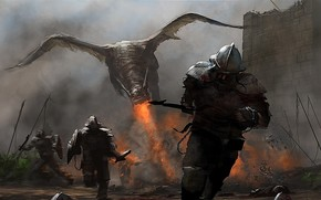 drago, fuoco, soldato, uomo, muro, correre, situazione