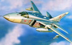 фронтовой бомбардировщик, крыло изменяемой стреловидности, рисунок, самолёт, авиация, ввс россии