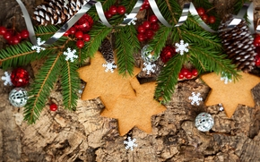 cookies, Star, branch, spruce, Cones, Berries, Balls, New Year, Christmas, holiday, New Year