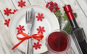 plate, bottle, knife, cutlery, Snowflakes, Tree, branch, goblet, wine, red, Berries