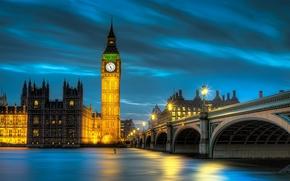 Big Ben, westminster palace, London, england, Great Britain, Big Ben, Palace of Westminster, London, England, United Kingdom, lighting, light, lights, bridge, water, river, Thames, thames, evening, night, city