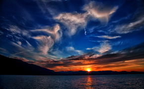 закат, Небо, Пейзаж, Облака, Природа