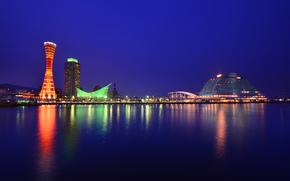 Япония, Хонсю, Кобе, город, порт, здания, башня, освещение, ночь, синее, небо
