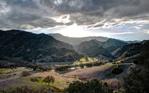paesaggio, hdr, Montagne, cielo, nuvole, valle, alberi, Malibu