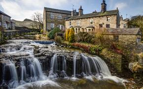 Hawes, north yorkshire, Inghilterra, Yorkshire, Inghilterra, fiume, cascata, edificio