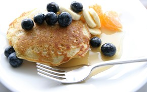 Pancakes, Pancakes, bananas, plate, oranges, fork, Berries, blueberry
