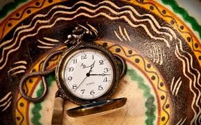 часы, стрелки, цепочка, цифры, циферблат