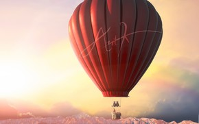 воздушный шар, арт, небо